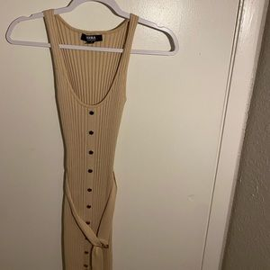 Nude Ribbed Midi Dress